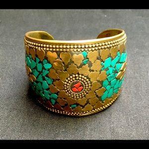 Gorgeous Vintage Mosaic Cuff Bracelet